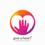 Hands holding heart symbol, abstract gradient, flat shadow. Royalty Free Stock Photos