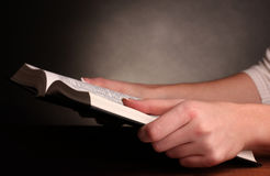 Hands holding   holy bible Royalty Free Stock Photography