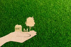 Hands holding home family tree and car grass background royalty free stock photography