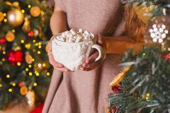 Hands holding hot christmas beverage cup cacao or chocolate with. Female hands hot christmas beverage cup cacao or chocolate with marshmallow decorative new year Royalty Free Stock Photo