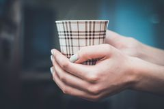 Hands holding hot cup of coffee or tea in morning Royalty Free Stock Photo