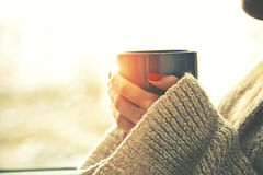 Hands holding hot cup of coffee or tea. In morning sunlight Stock Photos