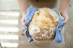 Hands holding hot fresh bread Royalty Free Stock Photos