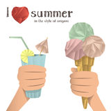 Hands holding ice cream and a cocktail, made in the style of origami Stock Photo