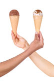 hands holding ice cream Royalty Free Stock Photos