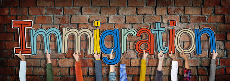 Hands Holding Immigration Word Concept Stock Image