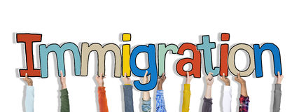 Hands Holding Immigration Word Concept Royalty Free Stock Images