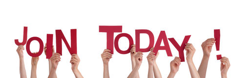 Hands Holding Join Today. Many Hands Holding the Red Words Join Today, isolated Stock Photography