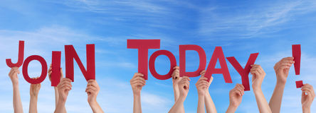 Hands Holding Join Today in the Sky. Many Hands Holding the Red Words Join Today in the Sky Royalty Free Stock Photo
