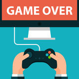 Hands holding joystick and monitor screen Game. Over. Vector illustration in eps10 stock illustration
