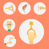 Hands holding key apartment selling human gesture sign security house concept vector illustration. Stock Photos