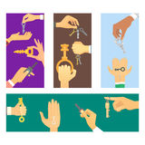 Hands holding key apartment selling human gesture sign security house concept vector illustration. Stock Images