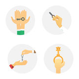 Hands holding key apartment selling human gesture sign security house concept vector illustration. Royalty Free Stock Image