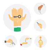 Hands holding key apartment selling human gesture sign security house concept vector illustration. Stock Photo