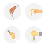 Hands holding key apartment selling human gesture sign security house concept vector illustration. Royalty Free Stock Photos