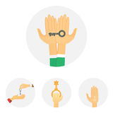 Hands holding key apartment selling human gesture sign security house concept vector illustration. Royalty Free Stock Photography
