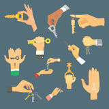Hands holding key apartment selling human gesture sign security house concept vector illustration. Stock Image
