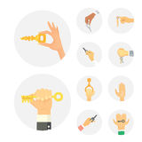 Hands holding key apartment selling human gesture sign security house concept vector illustration. Hand holding key apartment selling human gesture sign Stock Image