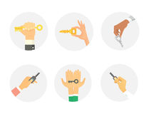 Hands holding key apartment selling human gesture sign security house concept vector illustration. Hand holding key apartment selling human gesture sign Royalty Free Stock Photos