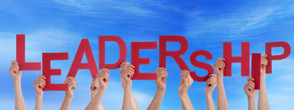 Hands Holding Leadership in the Sky Stock Image