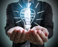 Hands of  holding light bulb Royalty Free Stock Photography
