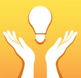 Hands holding light bulb icon vector, creative concept. EPS10 Stock Image