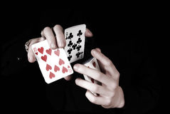 Hands holding a lot of play cards Royalty Free Stock Photography