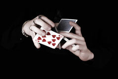 Hands holding a lot of play cards Stock Photography