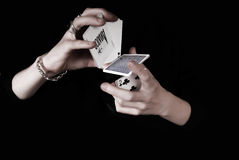 Hands holding a lot of play cards Royalty Free Stock Image