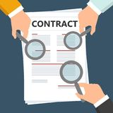 Hands holding a magnifying glass with contract. Concept of searching, detecting and analyzing.  illustration in flat design Stock Images
