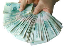 Hands holding many of the Russian banknotes Royalty Free Stock Photo