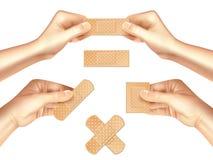 Hands Holding Medical Plasters Realistic Set vector illustration