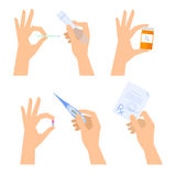 Hands are holding medical things: thermometer, pill, prescription Royalty Free Stock Photos
