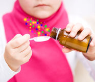 Hands holding medicine health care syrup Stock Images