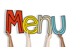 Hands Holding Menu Word Concepts Royalty Free Stock Photography