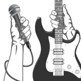 Hands holding a microphone and a guitar. Black and white vintage illustration. Royalty Free Stock Photography