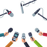 Hands holding microphones, press conference vector concept. Hands holding microphones, press conference vector. Concept media press, reporter with dictaphone Stock Photography