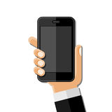 Hands holding mobile phone. Flat design Stock Photography
