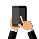 Hands holding mobile phone. Flat design Royalty Free Stock Image