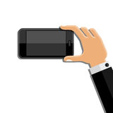 Hands holding mobile phone. Flat design Royalty Free Stock Photos