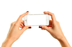 Hands holding mobile royalty free stock images