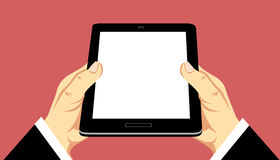 Hands Holding Mobile Tablet. Hands holding mobile device tablet vector illustration
