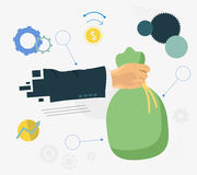 Hands holding money bag. Money making. Bank deposit and business items flat illustration Stock Image
