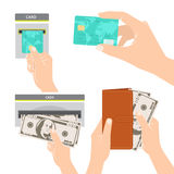 Hands holding money, credit card and purse Royalty Free Stock Photography