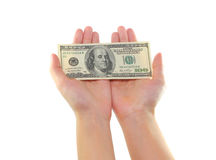 Hands holding money dollars isolated Royalty Free Stock Photography