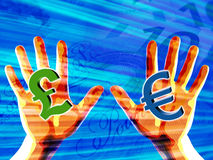Hands holding money symbols Royalty Free Stock Photo