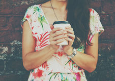 Hands holding morning coffee cup Stock Image
