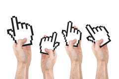 Hands Holding Mouse Cursors Royalty Free Stock Image