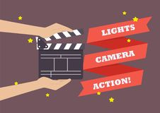 Hands holding movie clapper board. Vector illustration Stock Photo