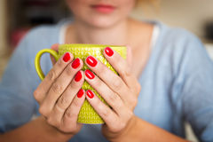 Hands holding mug Royalty Free Stock Photo
